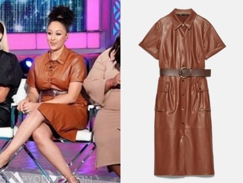 tamera mowry's brown leather dress