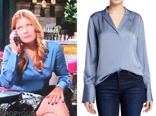 phyllis newman's blue silk blouse