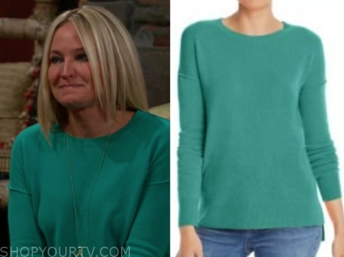 sharon's teal sweater