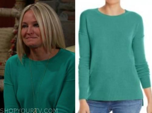 sharon's teal sweater