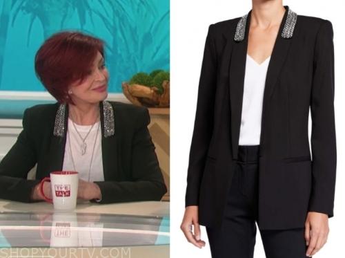 sharon osbourne's black embellished blazer