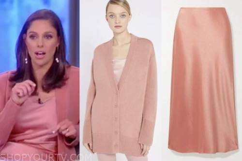 abby huntsman's pink cardigan and skirt