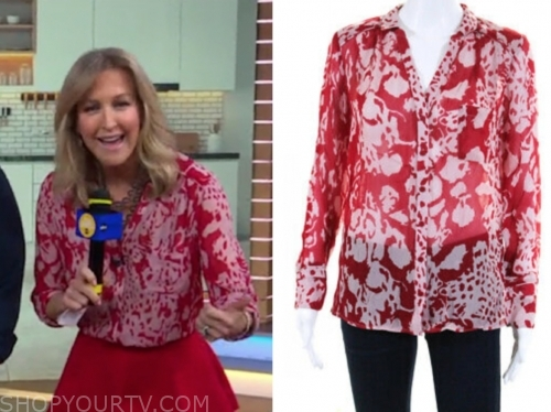 lara spencer's red printed blouse