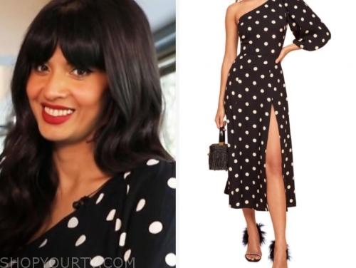 jameela jamil's black and white polka dot dress