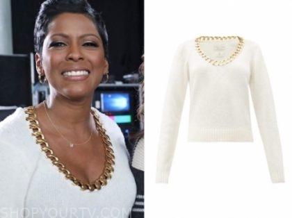 tamron hall's ivory chain trim sweater