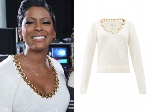 tamron hall's ivory chain trim sweater