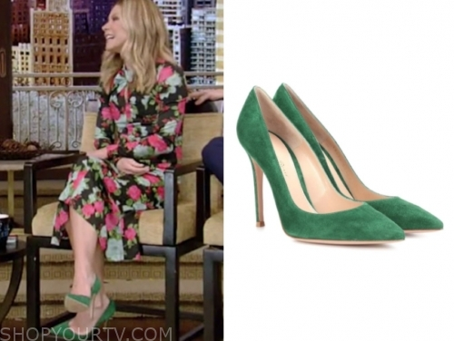 kelly ripa's green suede pumps
