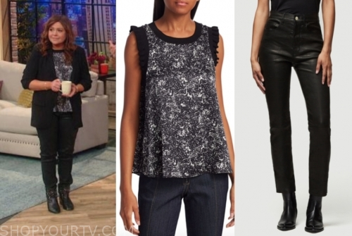 rachael ray's printed top and black leather pants