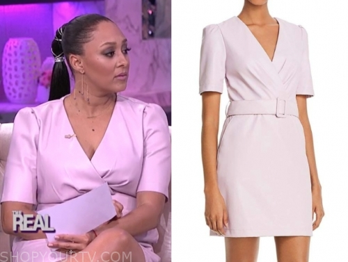 tamera mowry's purple leather belted dress