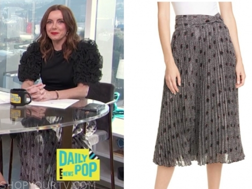 melanie bromley's grey pleated printed midi skirt