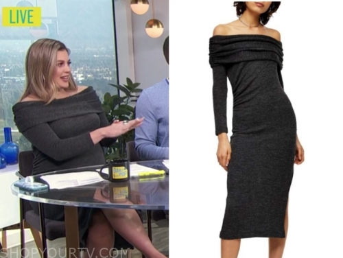 carissa culiner, grey off-the-shoulder knit dress