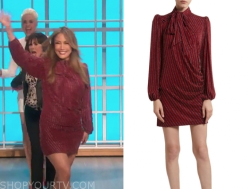 carrie ann inaba's red metallic stripe tie neck dress