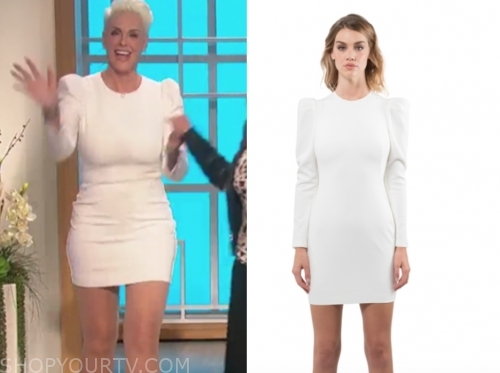 brigitte nielsen's white puff sleeve dress