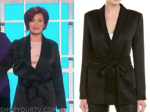 sharon osbourne's black satin blazer