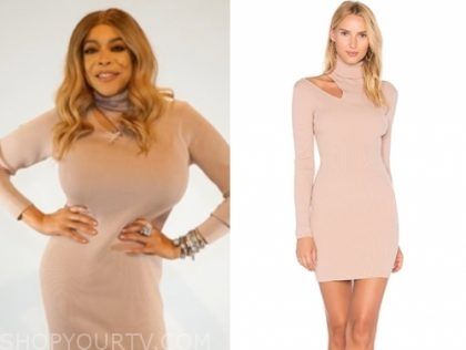 wendy williams's blush pink turtleneck cutout dress