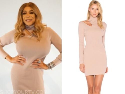 wendy williams's blush pink turtleneck cutout dress