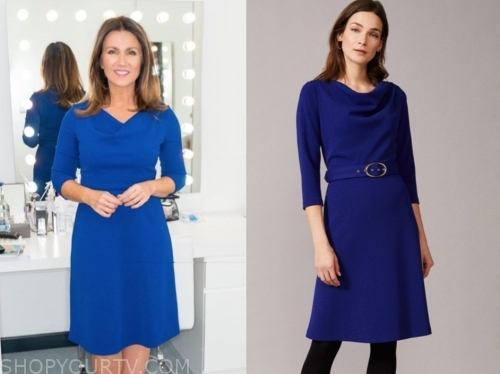 susanna reid's blue cowl dress