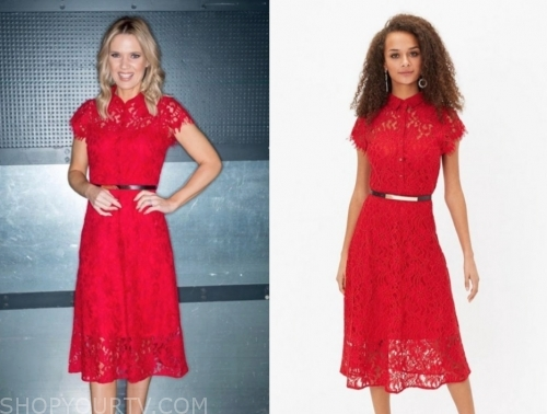 charlotte hawkins's red lace dress