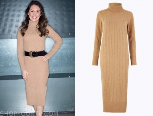 laura tobin's camel turtleneck dress
