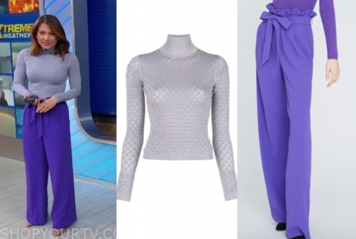 ginger zee's purple turtleneck and purple pants