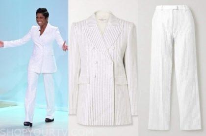 tamron hall's white pinstripe blazer and pant suit