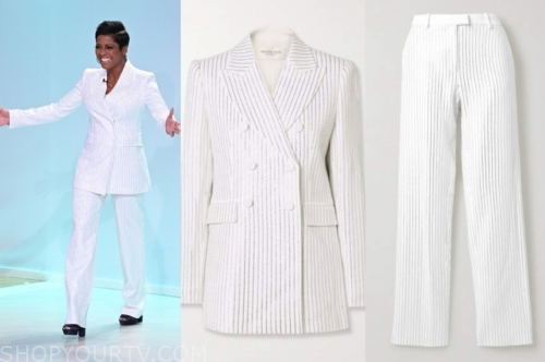 tamron hall's white pinstripe blazer and pant suit