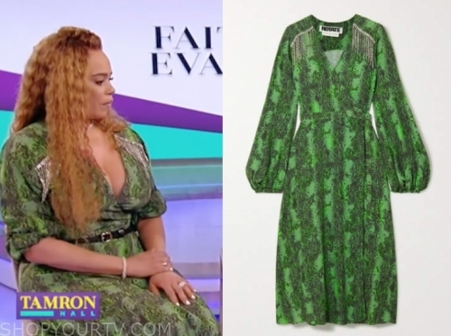 faith evens's green snakeskin dress
