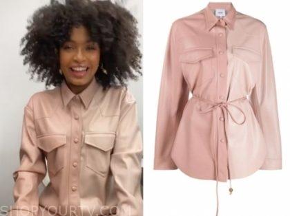 yara shahidi's pink leather shirt