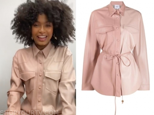yara shahidi's pink leather shirt