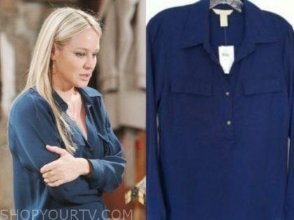 sharon newman's blue blouse