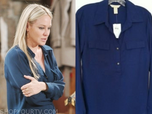 sharon newman's blue blouse