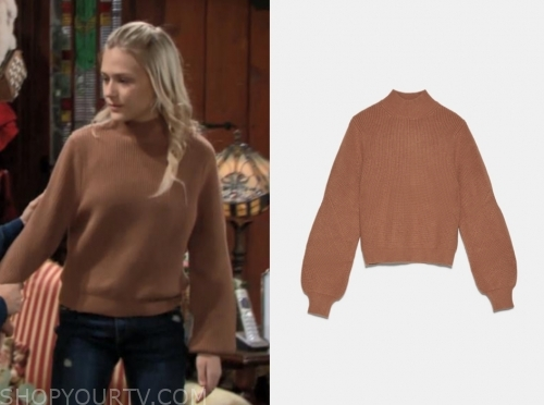 faith's camel sweater
