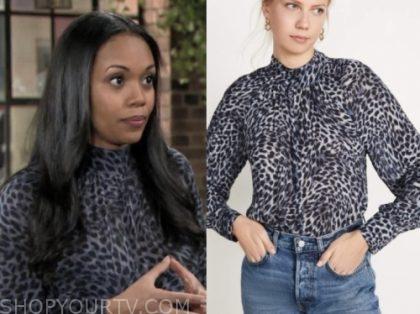 amanda sinclair's blue leopard blouse