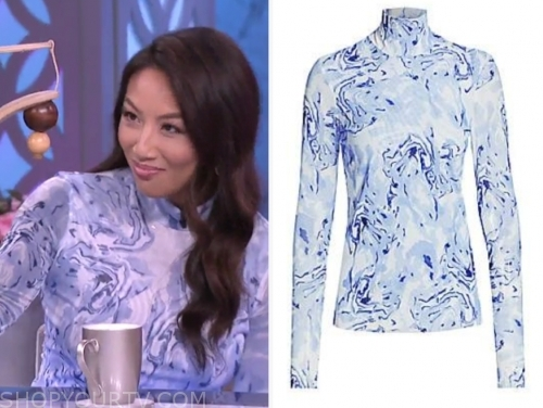 jeannie mai's blue marble turtleneck top