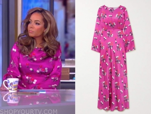 sunny hostin's pink floral satin midi dress