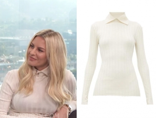 morgan stewart's ivory collar ribbed knit top