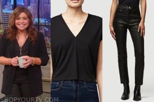 rachael ray's black v-neck top and black leather pants