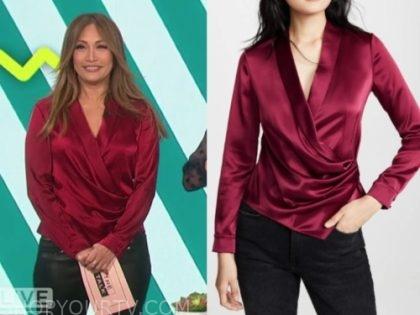 carrie ann inaba's burgundy wrap drape blouse