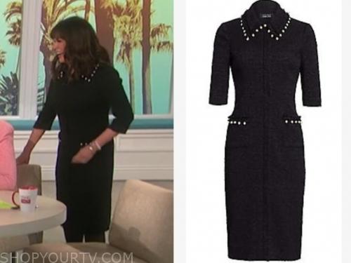marie osmond's black tweed pearl dress