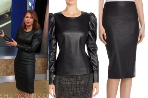 ginger zee's black leather dress
