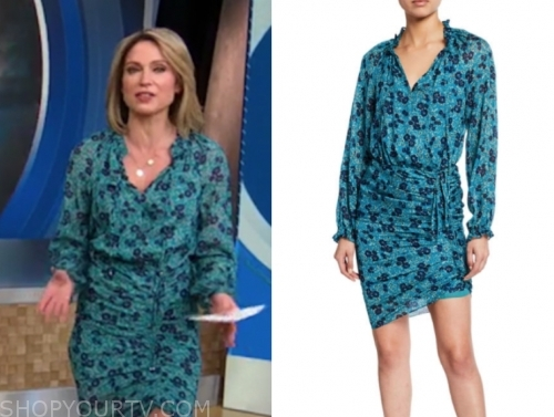 amy robach's floral ruched dress