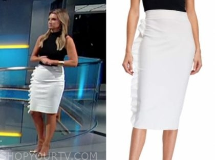 jillian mele's white ruffle pencil skirt