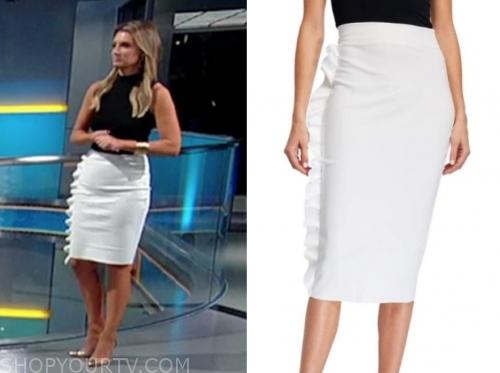 jillian mele's white ruffle pencil skirt