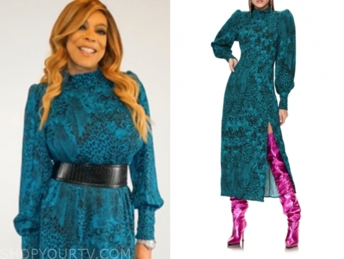 wendy williams's teal printed dress