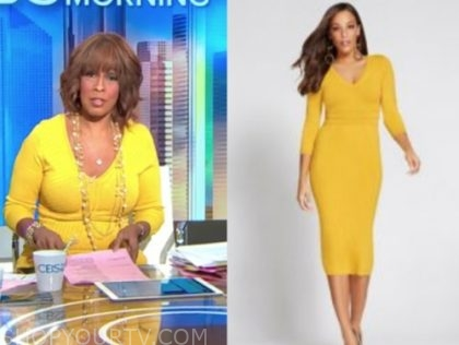 gayle king's yellow ribbed knit dress
