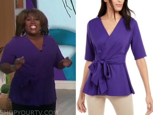 sheryl underwood's purple wrap top