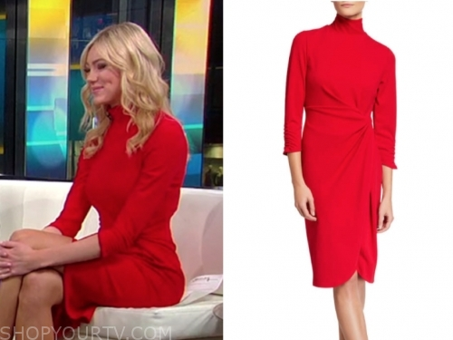abby horneack's red mock neck dress
