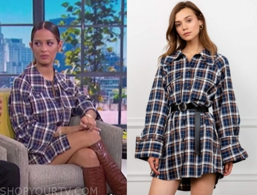 rosci diaz's blue plaid dress