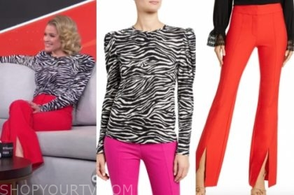 sara haines's zebra top and red pants