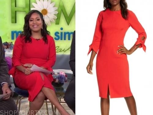 sheinelle jones's red tie sleeve sheath dress
